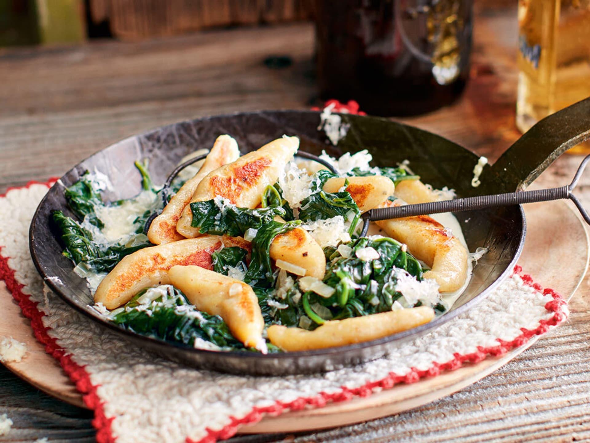 Schupfnudeln mit spinat