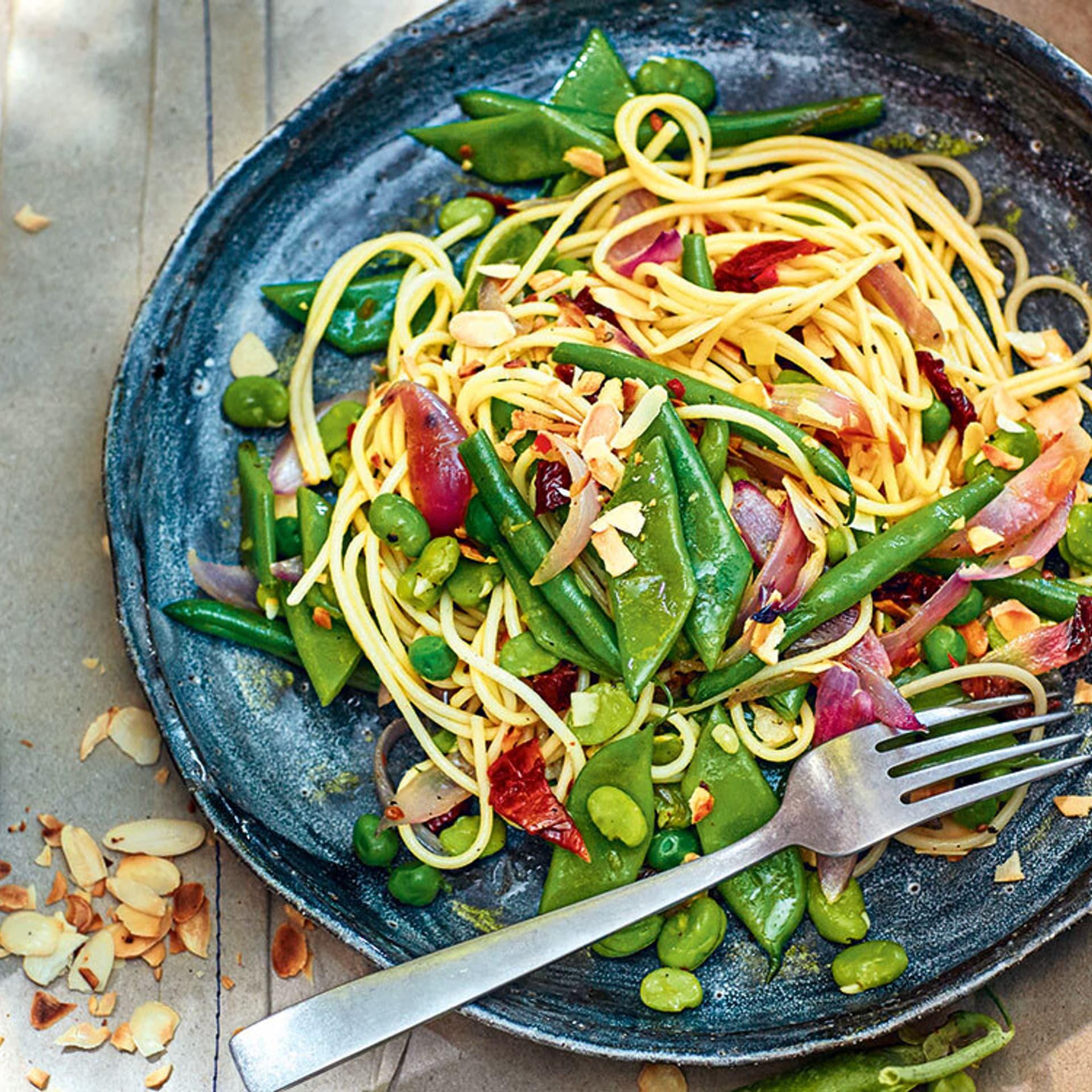 Spaghetti mit gruenen Bohnen