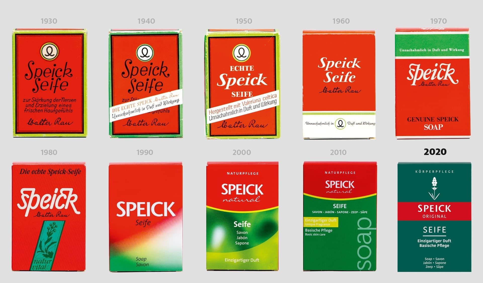 Speick-Seifenschachteln aus neun Jahrzenten