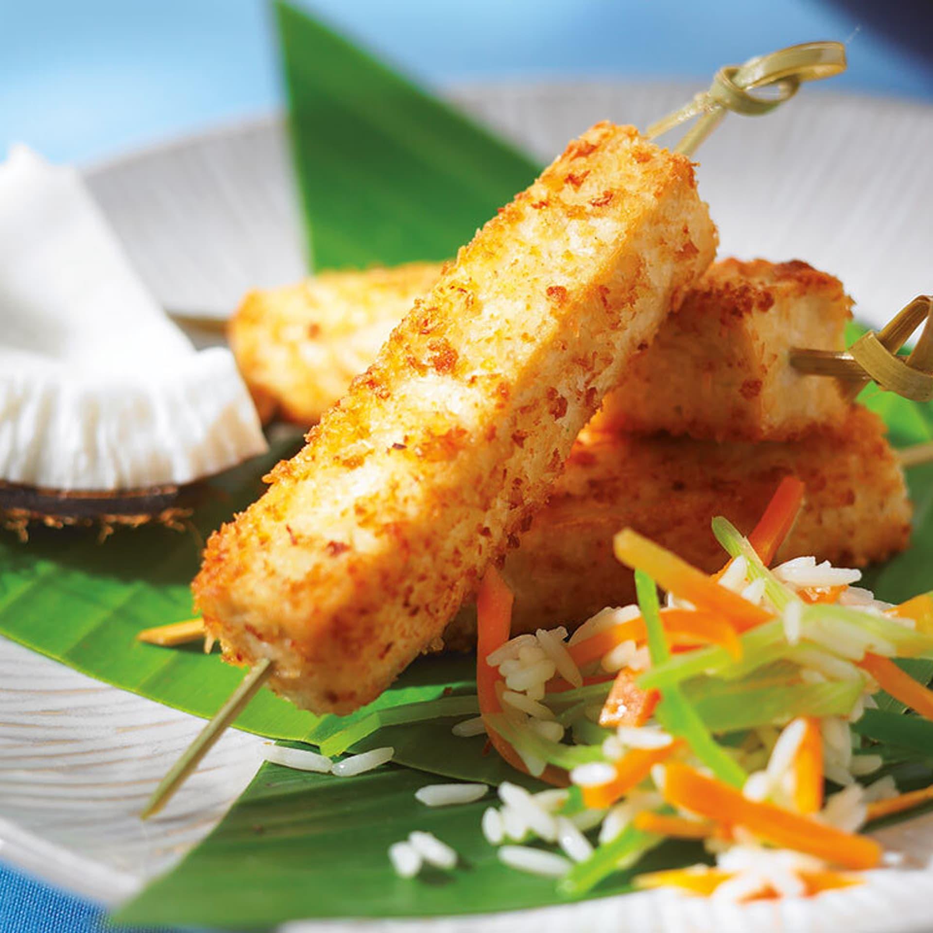 Tofu-Kokosstäbchen mit Mangosoße
