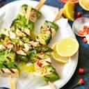 Tofuspieße mit Spargel und Brokkoli