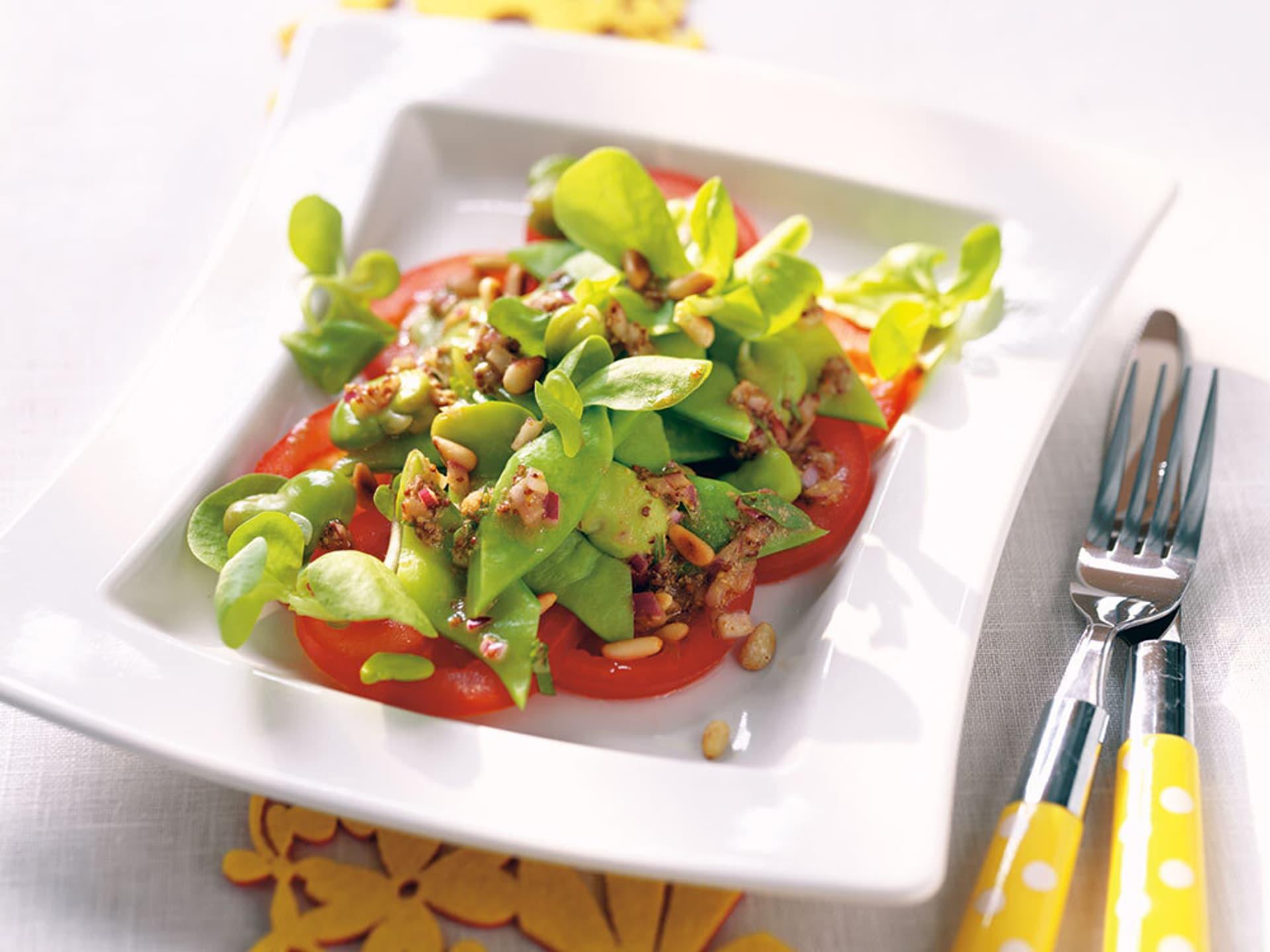 Tomaten carpaccio mit palbohnen