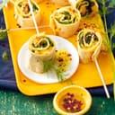 Tortilla-Röllchen mit Spinat und Mango