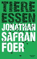 """Ein grünes Buchcover, auf dem schwarze Tiere die Wörter """"Tiere essen"""" bilden."""