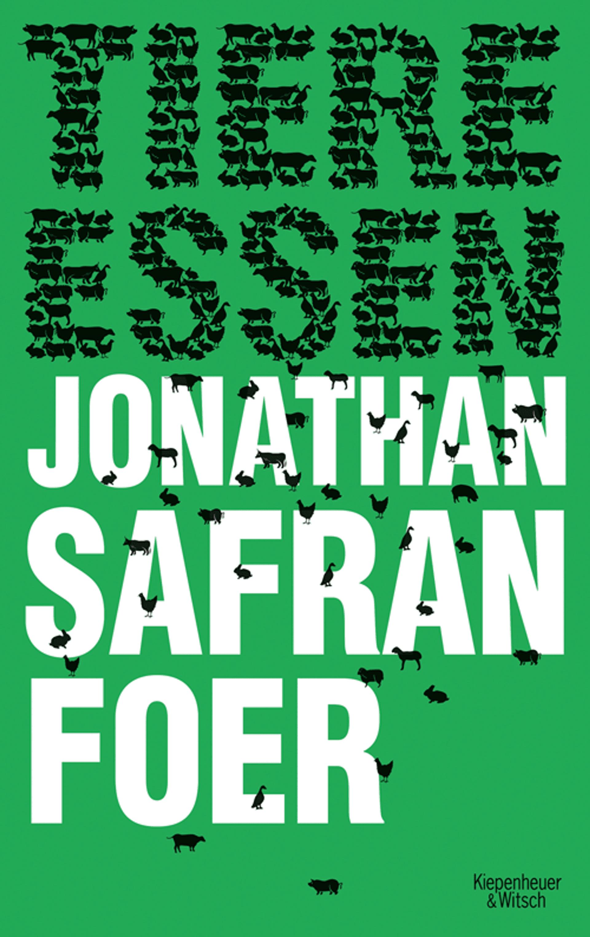 Ein grünes Buchcover, auf dem schwarze Tiere die Wörter