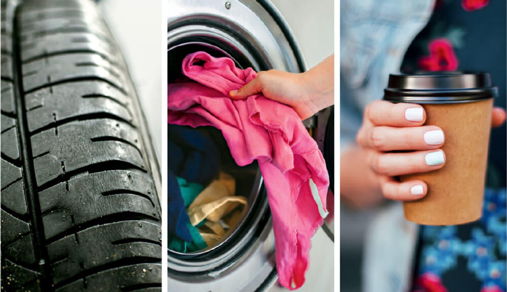Mikroplastik entsteht durch Reifenabrieb, beim Waschen von Textilien und durch Erosion von Verpackungen.