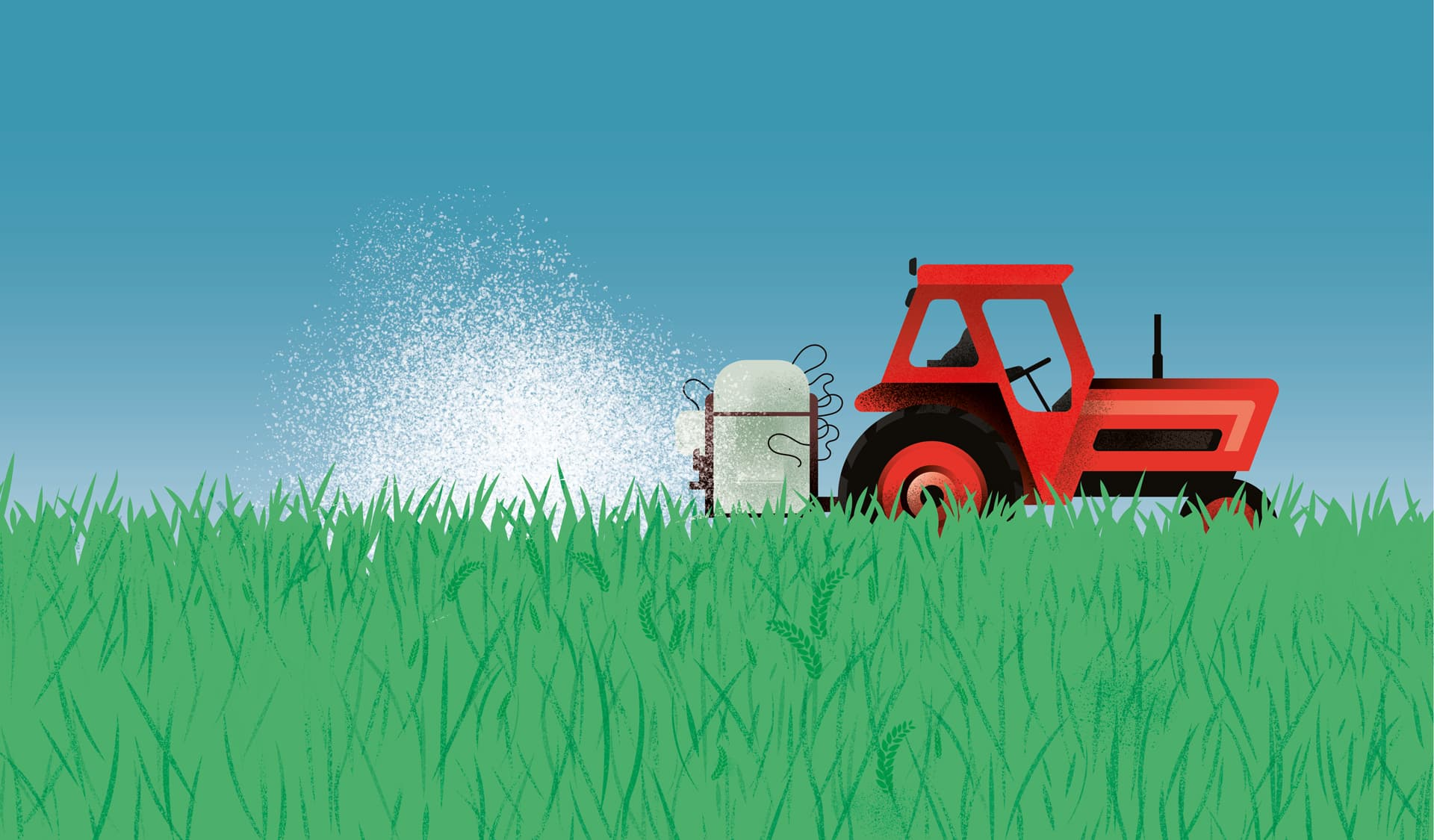 Illustration: Traktor versprüht Herbizide auf einem Acker