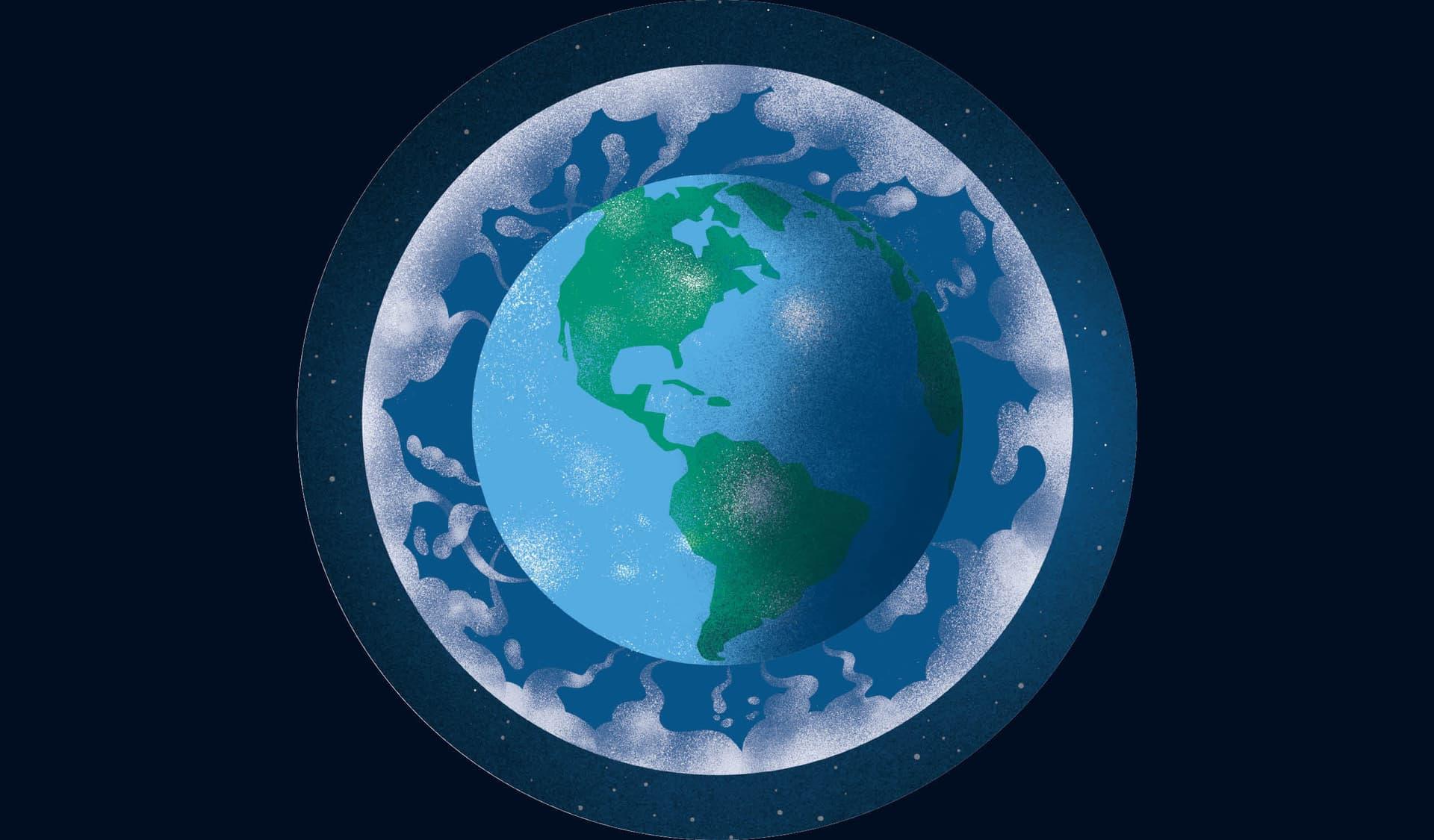 Die Erdkugel mit Atmosphäre und Treibhausgasen