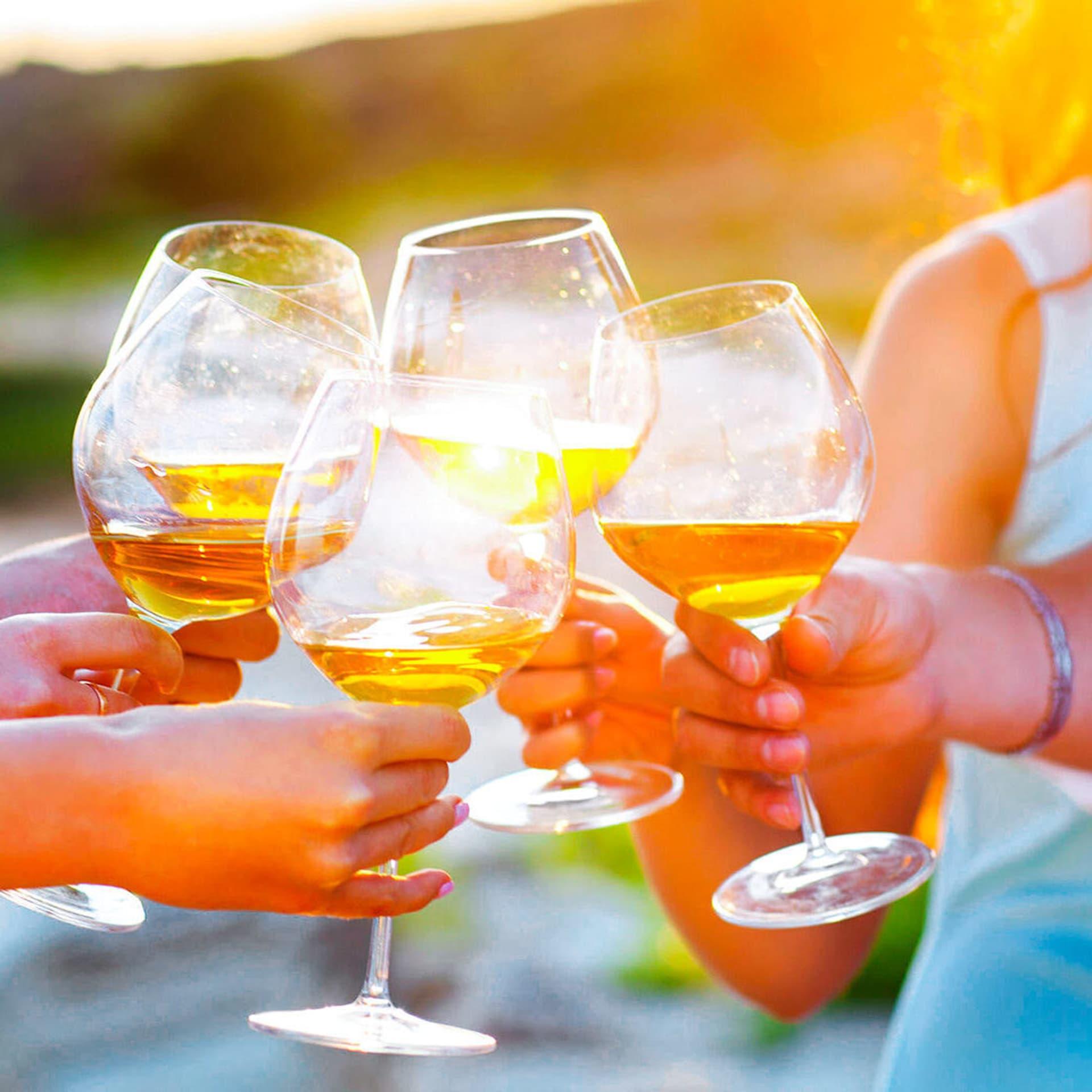 Fünf Personen stoßen mit Wein an