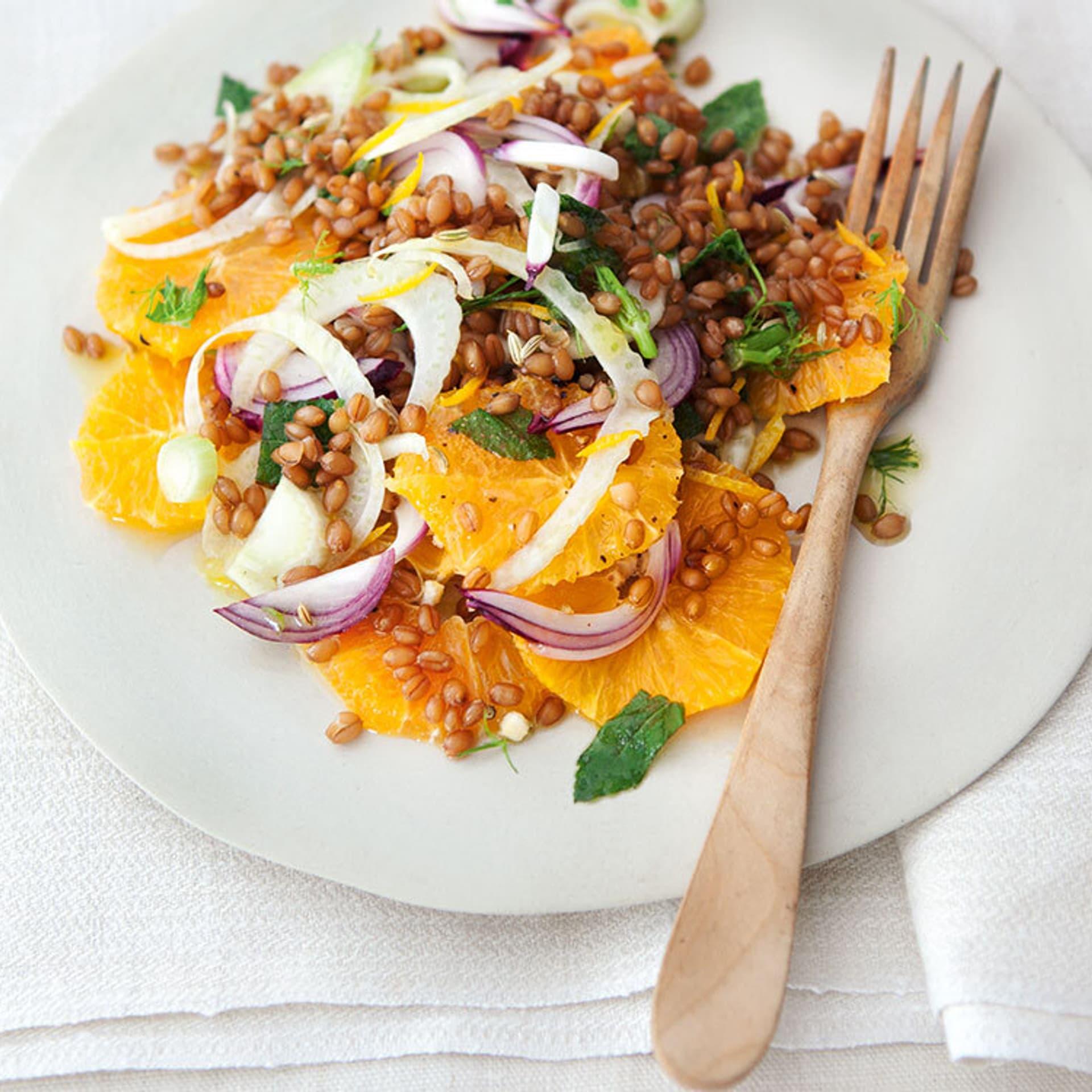 Weizensalat mit Orangen und Fenchel