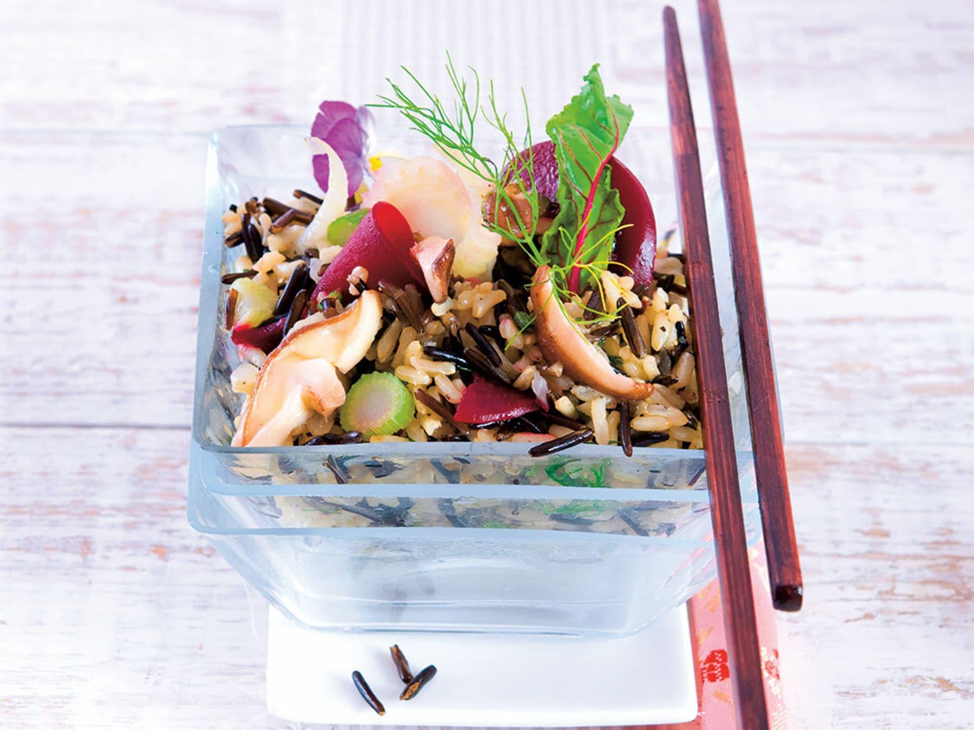Wildreis-Salat mit Shiitake-Pilzen
