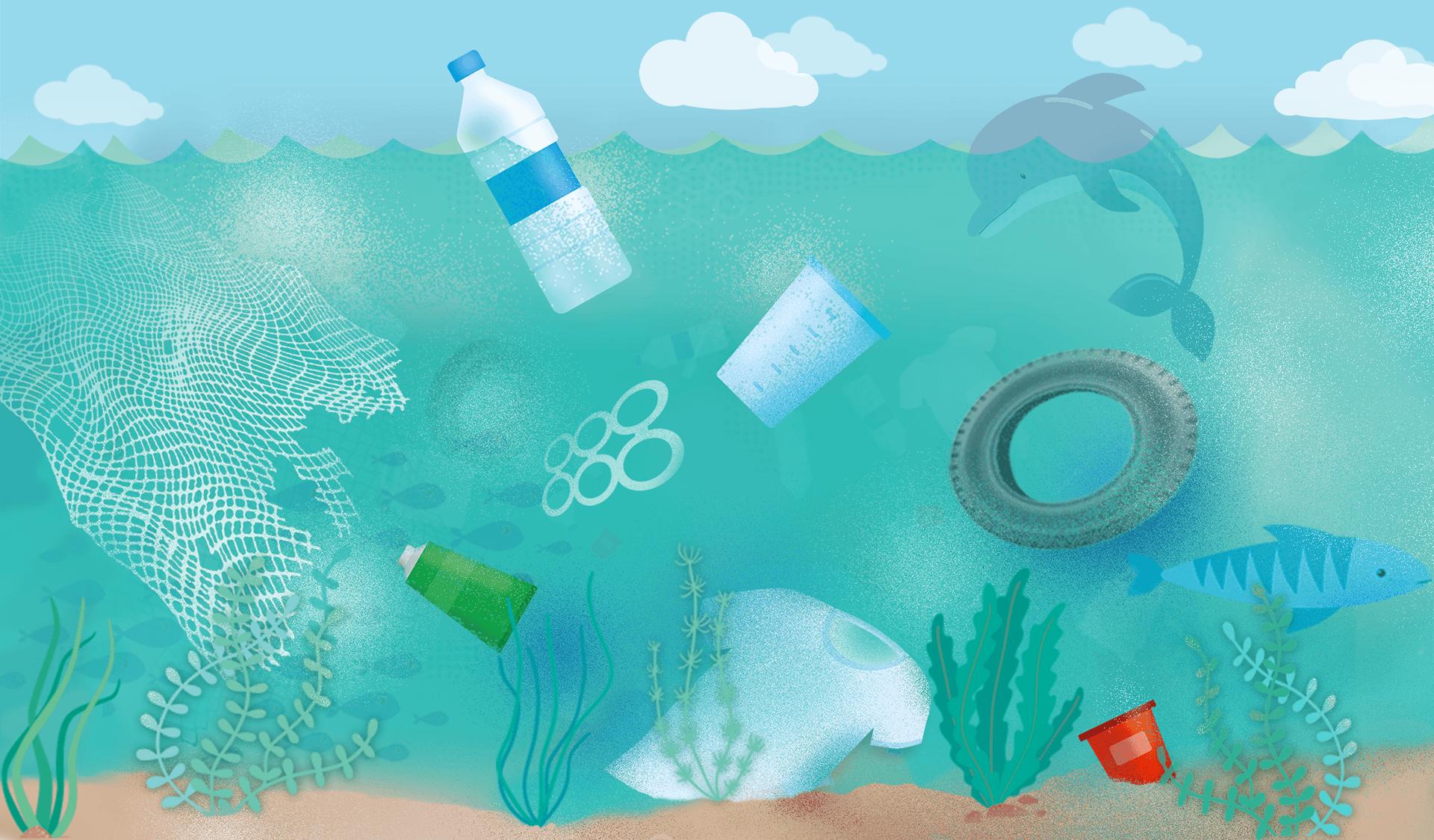 Illustration mit Plastikflaschen, Autoreifen, Fischernetzen im Meer