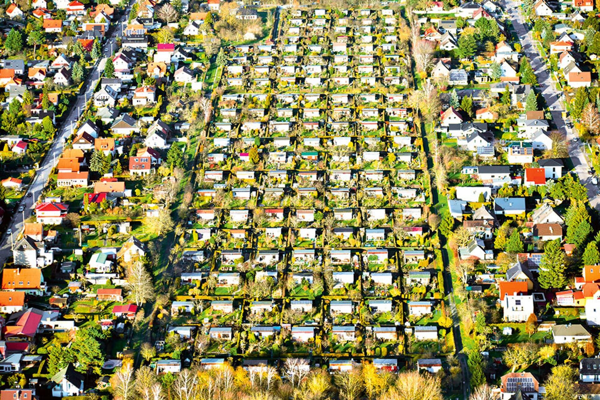 Kleingartenanlage aus der Vogelperspektive: ca. 7 x 15 Parzellen mit je einer Gartenlaube. Am rechten und linken Bildrand: Wohnhäuser mit Hausgärten