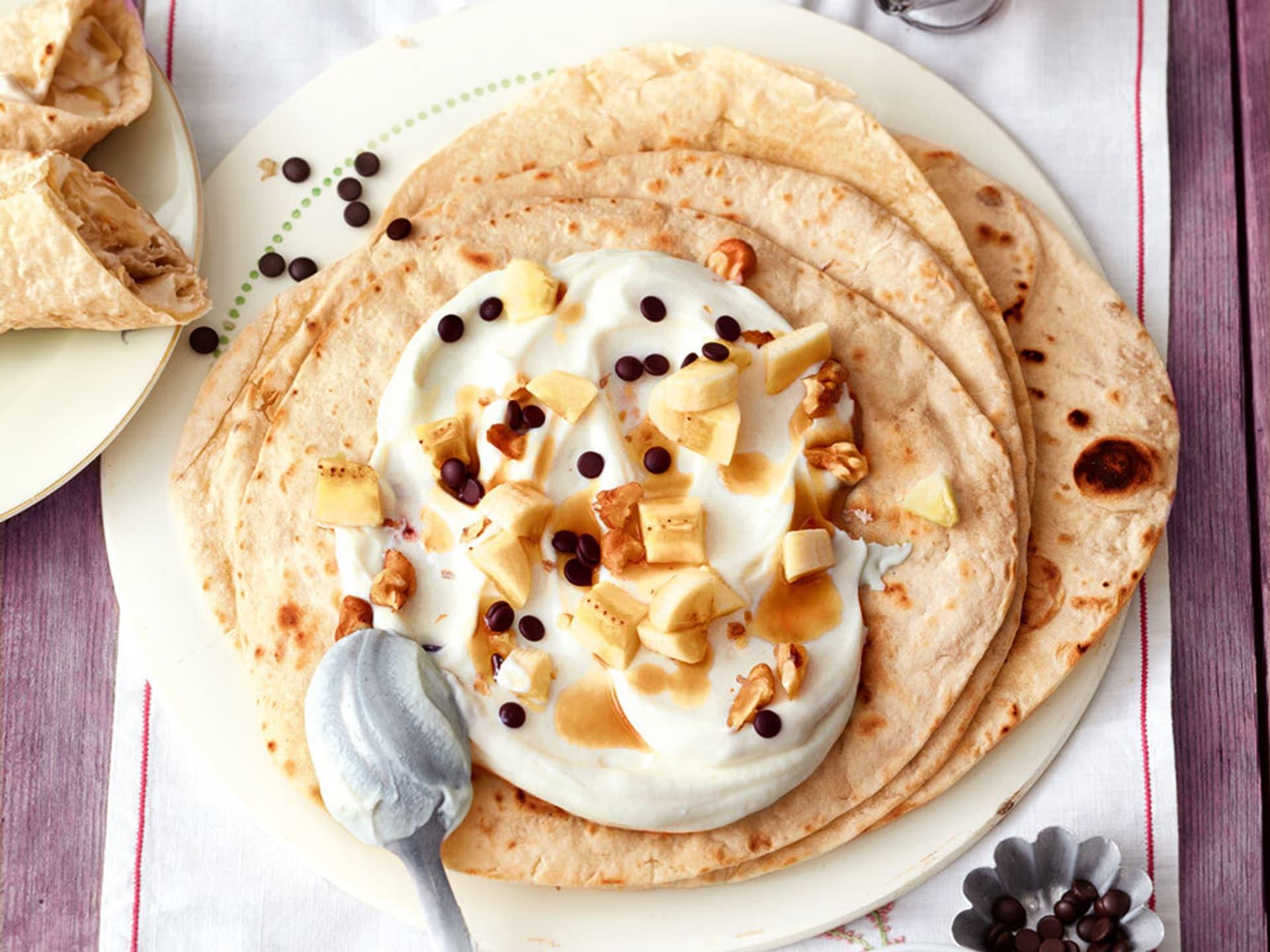 Wrap mit bananenquark und schokolade