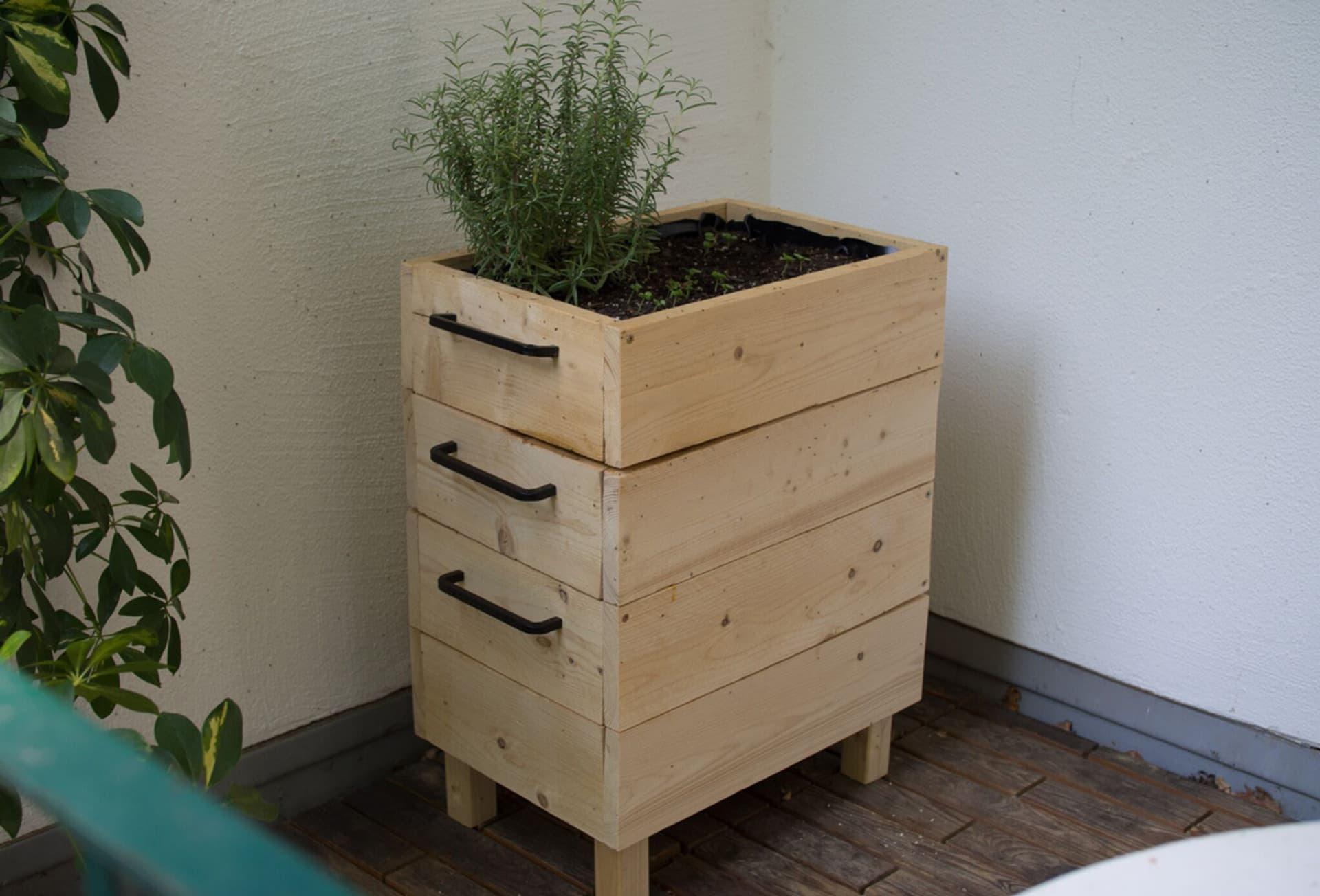 Die fertige Wurmkiste aus Holz und bepflanzt