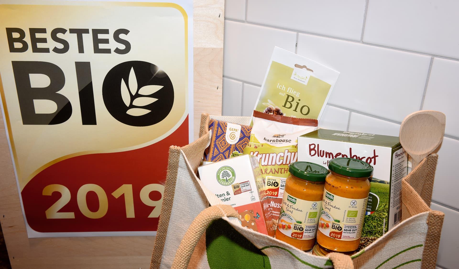 Bestes Bio-Logo und Tasche mit Produktproben