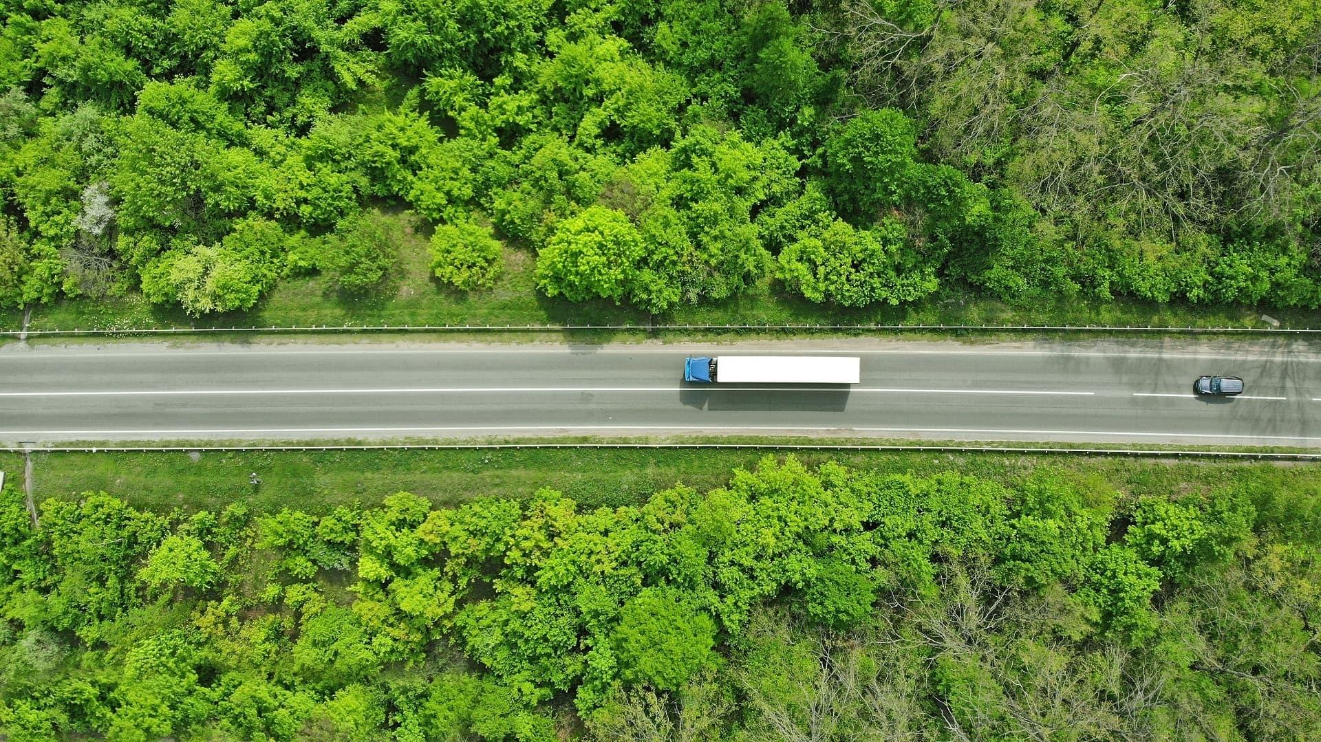 Lkw auf Autobahn, links und rechts daneben Wald