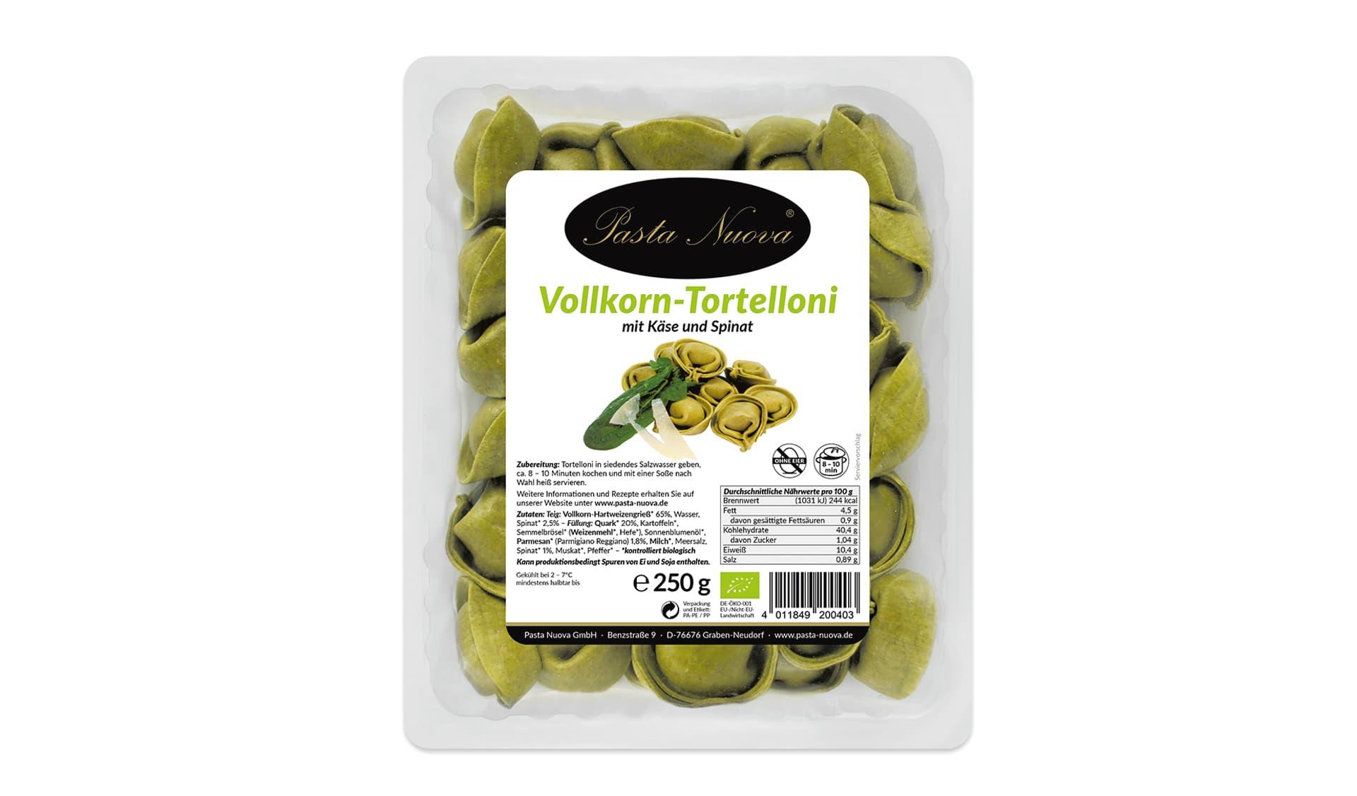 Pasta Nuova (www.pasta-nuova.info) Vollkorn-Tortelloni mit Käse und Spinat