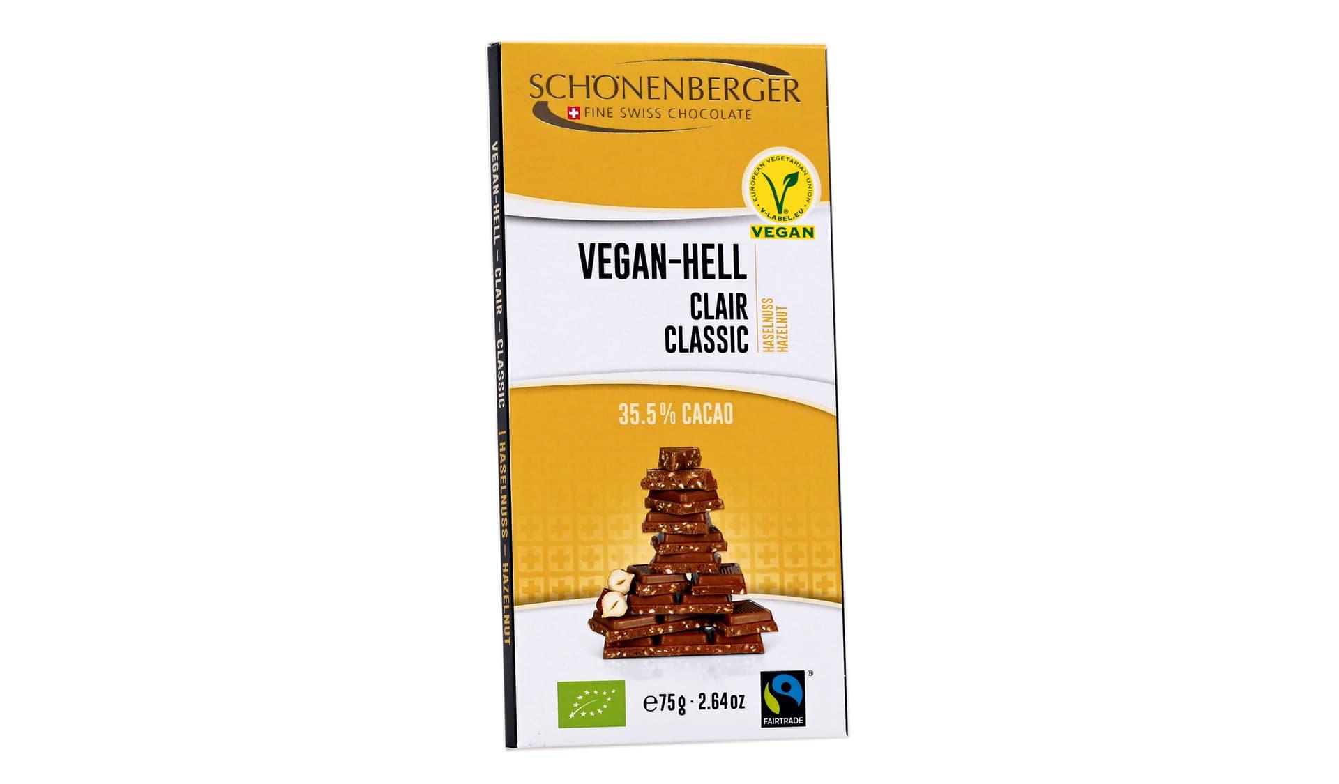 Schönenberger Vegan-Hell, Haselnuss (www.schoenenberger-choco.ch)