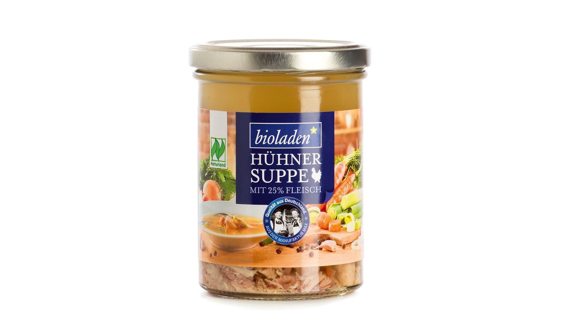 Weiling Hühnersuppe mit 25% Fleisch (www.weiling.de)