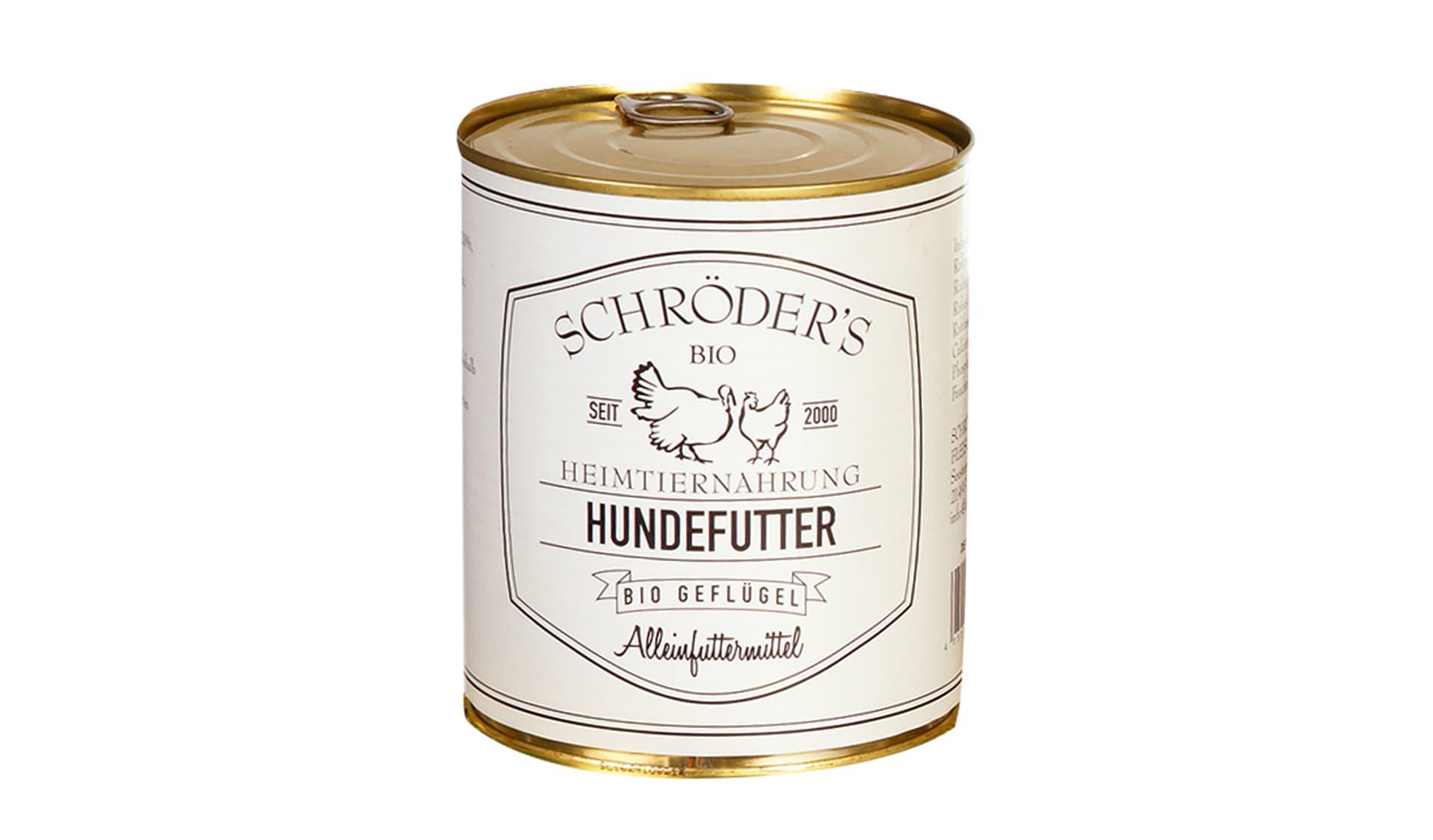 Schroeder's Bio (www.bio-fleischer.de/sortiment/heimtiernahrung.php) Hundefutter Bio Geflügel