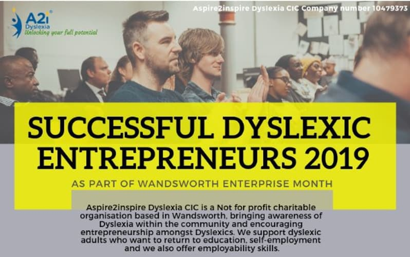 Successful Dyslexic Entrepreneurs 2019 graphic
