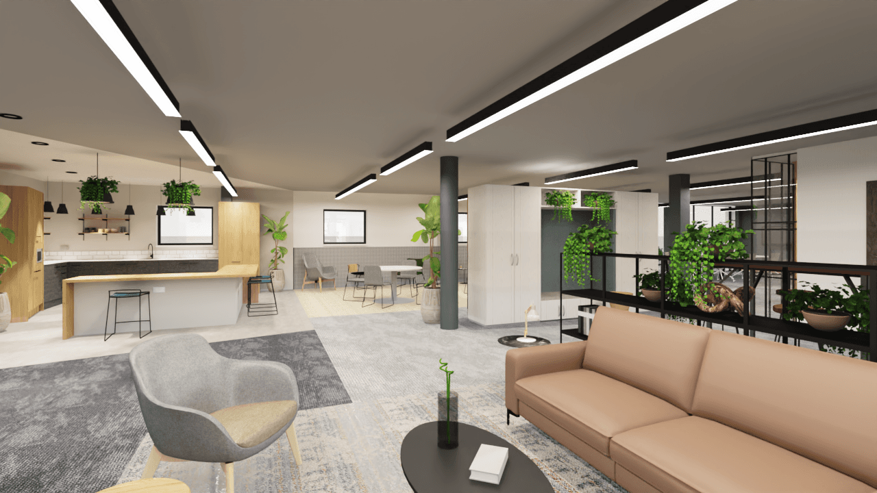 CGI visual of kitchen and soft seating