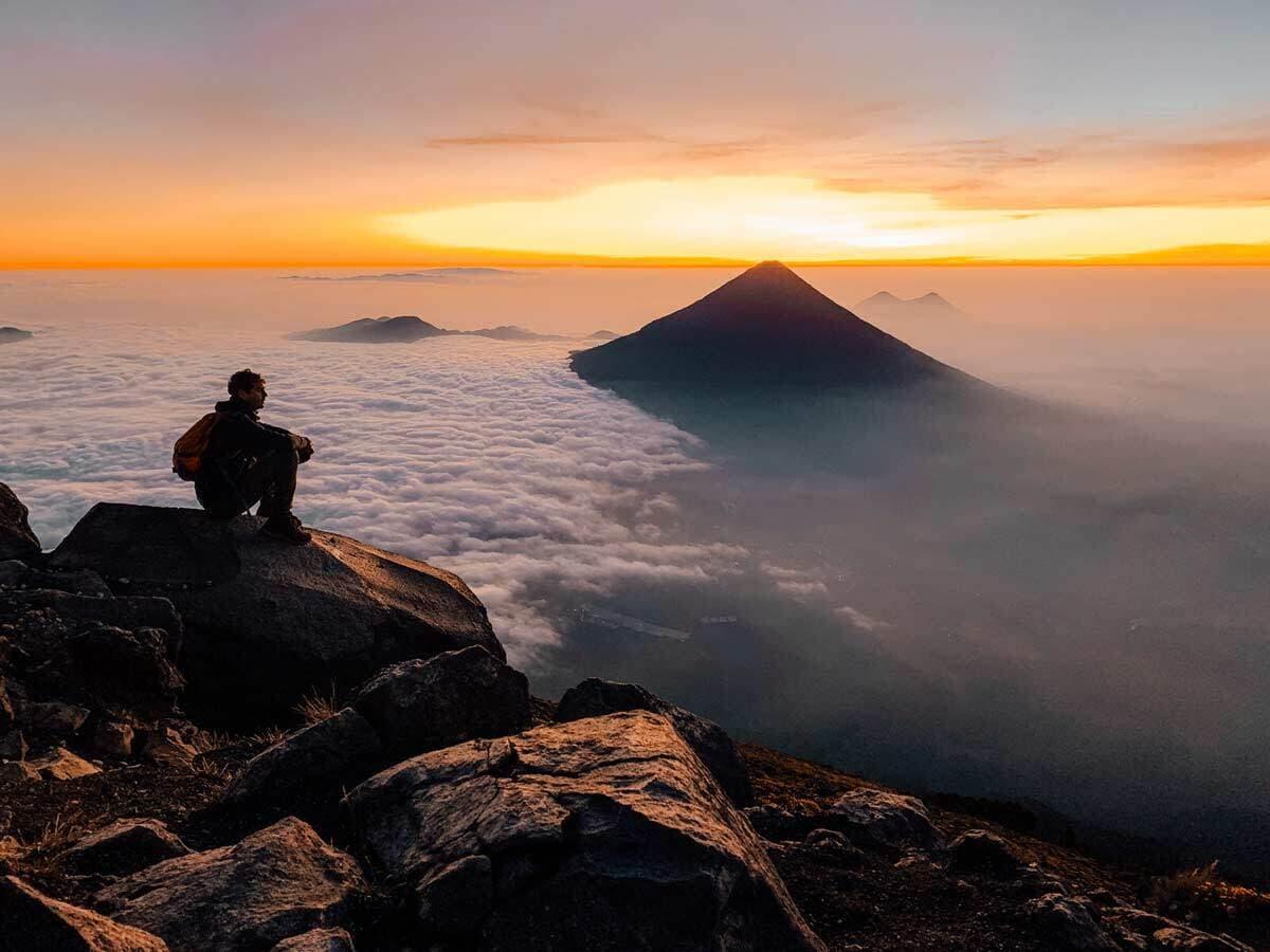Acatenango Summit Hiker Sunrise