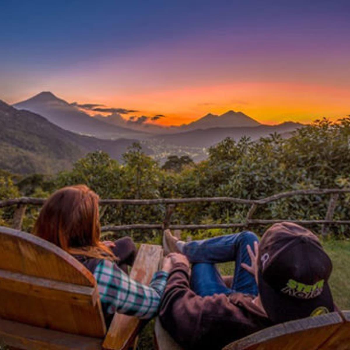 Guatemala Earth Lodge Sunset View during custom Guatemala tour