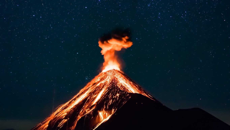 Fuego Volcano Eruprtio Stars