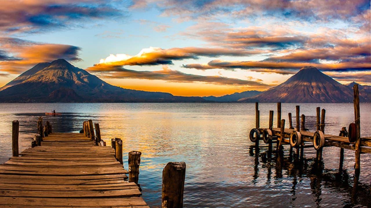 Lake Atitlan Docks Volcanoes