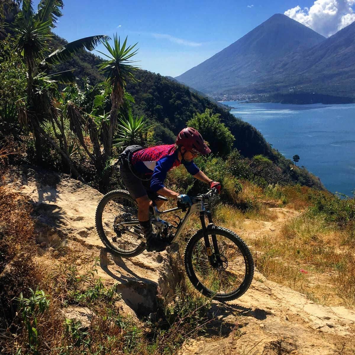 Lake Atitlan Slickrock descent MTB