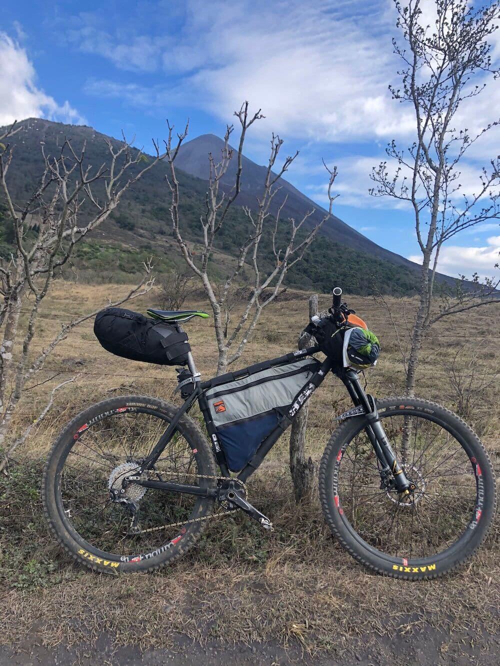 Pacaya lava field bike setup