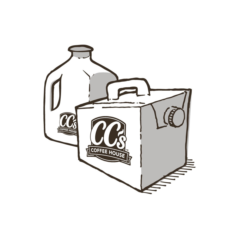 A gallon jug and a carton beverage dispenser