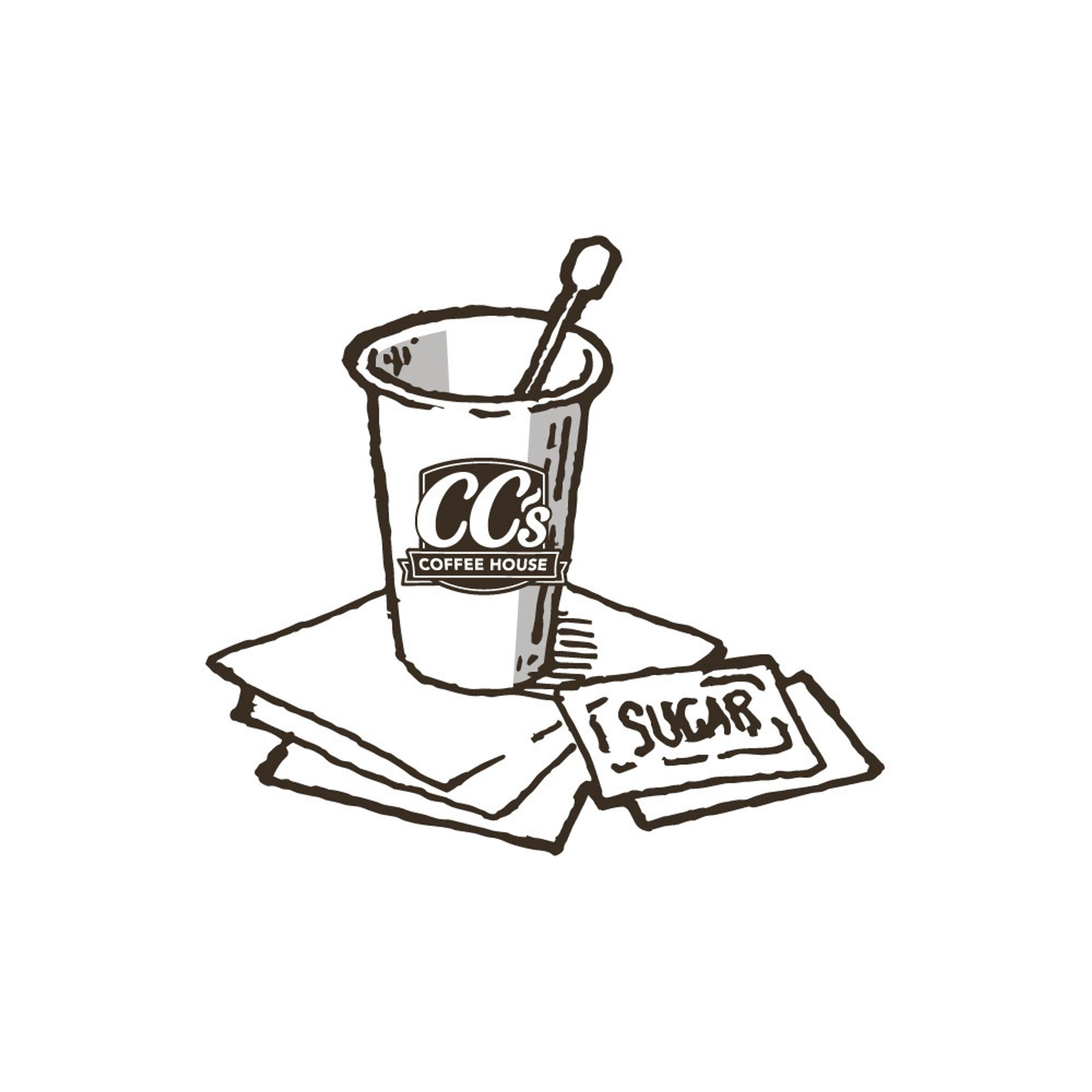A CC's coffee cup with napkins and sugar packets