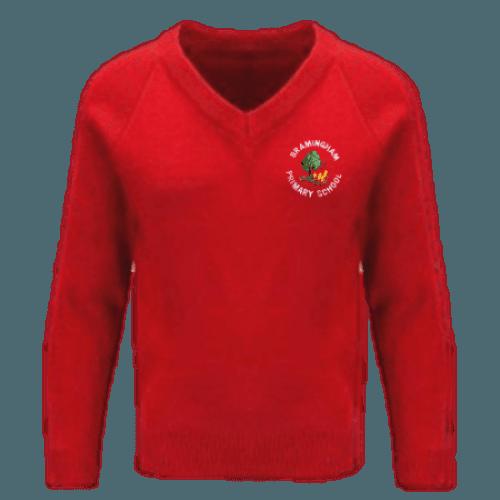 Red V-Neck Sweatshirt